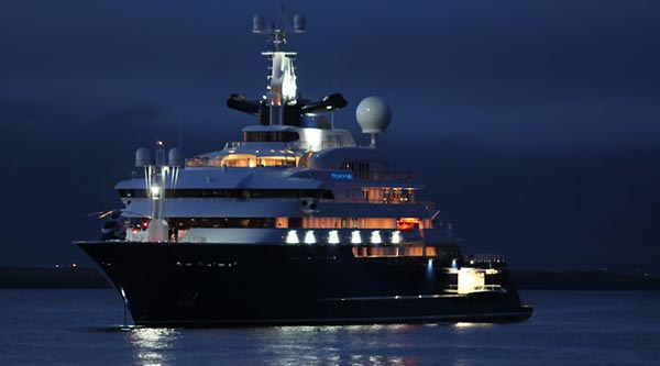 Octopus Super Yacht at night